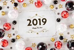 2019 greetings card with red baubles 3D rendering vector illustration