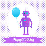 Greetings card with a robot and balloon. Nice template for birthday card design. Violet and blue colors. Cartoon style Royalty Free Stock Image