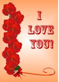 Greetings' card with roses. For Valentine Day, Birthday, Anniversary Royalty Free Stock Image