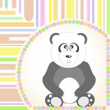 Greetings Card with a smiling sitting panda Vector Royalty Free Stock Photos
