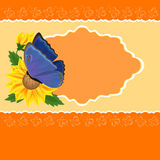 Greetings card with sunflower and butterfly Stock Photography