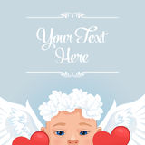 Greetings card template with baby Angel. Vector. Royalty Free Stock Images