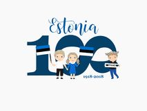100 years of Estonia. A welcome card with children with flags. Greetings card to the 100th anniversary of Estonia`s independence. Kids logo Stock Photos