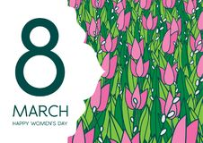 Greetings card with tulips, horizontal format. International women's day. 8 march. Made in vector stock illustration