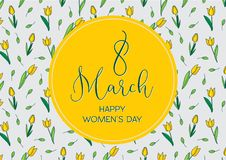 Greetings card with tulips, horizontal format. International women's day. 8 march. Made in vector vector illustration