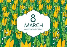 Greetings card with tulips, horizontal format. International women's day. 8 march. Made in vector Royalty Free Stock Image