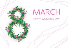 Greetings card with tulips, horizontal format. International women's day. 8 march. Made in vector Stock Images