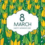 Greetings card with tulips, square format. International women's day. 8 march. Made in vector Royalty Free Stock Image