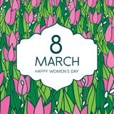 Greetings card with tulips, square format. International women's day. 8 march. Made in vector Stock Photo