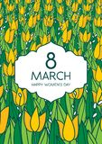 Greetings card with tulips, vertical format. International women's day. 8 march. Made in vector royalty free illustration
