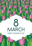 Greetings card with tulips, vertical format. International women's day. 8 march. Made in vector Stock Images