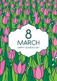 Greetings card with tulips, vertical format. International women's day. 8 march. Made in vector Stock Photo