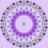 Greetings card with ultra violet  flower wreath on light rose Stock Photography
