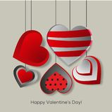 Decorated hearts greetings card. Valentine s greetings card with decorated hearts Stock Images