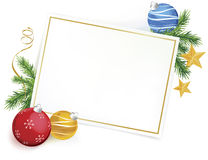 Greetings Card on White with Christmas Ornaments Stock Images