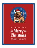 Greetings card We wish You a Marry Christmas and Happy New Year, funny English Bulldog Royalty Free Stock Photos