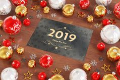 2019 greetings card with red baubles 3D rendering stock illustration