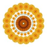 Greetings card with a wreath of yellow  flowers on white Royalty Free Stock Photos