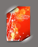 Greetings card for xmas. Greetings card for holiday with corner curl design, vector illustration Royalty Free Stock Photography