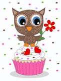 Greetings celebration owl cupcake Royalty Free Stock Photography