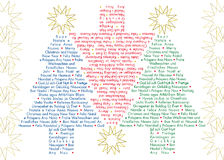 Greetings Christmas trees in different languages. Set of three greetings Christmas trees in different languages and colours with stars frame Stock Image