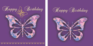 Greetings congratulations card. With decorative butterfly Stock Images