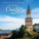 Greetings from Croatia postcard with blurry image in back. Greetings from Croatia postcard with blurry image from Hvar in background vector illustration