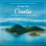 Greetings from Croatia postcard with blurry image from Dalmatia Stock Photo