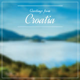 Greetings from Croatia postcard with blurry image from Dalmatia Royalty Free Stock Images