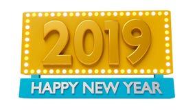 2019 greetings 3d rendering. 2019 happy New year greetings 3d rendering Stock Photography