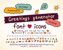 Greetings doodles set hand drawn script and icons. Royalty Free Stock Photos