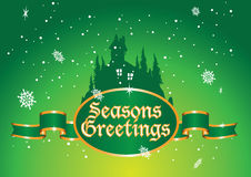 Greetings green. Seasonal greetings background with house Stock Photography