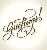 Greetings hand lettering (vector) Royalty Free Stock Photography