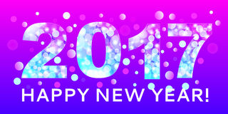 Greetings Happy New Year with the image of the year 2017 with th. E texture blue bokeh on the purple background. For use as a decorative background and new year vector illustration