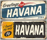 Greetings from Havana Cuba. Retro tin signs set on old metal texture Royalty Free Stock Image