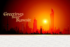 Greetings From Kuwait. Postcard Featuring Kuwaits Skyline Stock Images