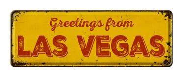 Greetings from Las Vegas. Vintage metal sign on a white background - Greetings from Las Vegas stock photos