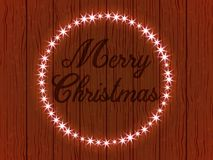 Greetings merry Christmas, a wooden. Wall with a frame in the form of a garland of glowing lights. Vector illustration Royalty Free Stock Photo