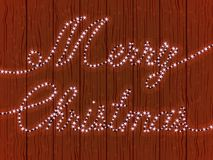 Greetings merry Christmas, a wooden. Wall with a garland of glowing lights. Vector illustration Royalty Free Stock Photo