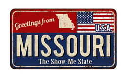 Greetings from Missouri vintage rusty metal sign Stock Images