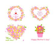Greetings for mom with beautiful pink and white daisy Royalty Free Stock Photo