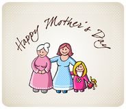 Greetings for mom in her day. Illustration of happy grandma, mom, daughter and her doll. Background with text greetings for mothers day. Vector available Royalty Free Stock Photos