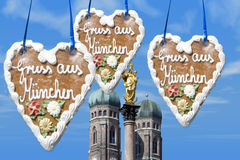 Greetings from Munich. Landmarks of Munich with the Bavarian Gingerbread Stock Photo
