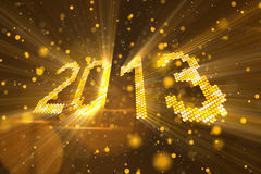 Greetings new year 2013 of shining yellow elements Royalty Free Stock Image