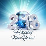 2018 worldwide Greeting card. Greetings and New Year date 2018 composed with a blue planet earth, on a shiny blue background - 3D illustration Stock Images