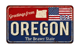 Greetings from Oregon vintage rusty metal sign Stock Photos