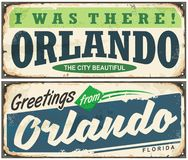 Greetings from Orlando Florida vintage signboard. Design concept. The city beautiful retro signs set stock illustration