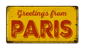 Greetings from Paris. Vintage metal sign on a white background - Greetings from Paris stock photography