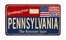 Greetings from Pennsylvania vintage rusty metal sign Stock Images
