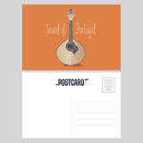 Greetings from Portugal vector postcard. Traditional Portuguese guitar fado design element for travel to Portugal concept image Stock Photography